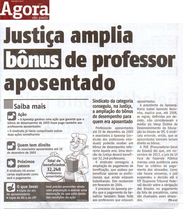APEOESP - Justiça amplia bônus de professor aposentado